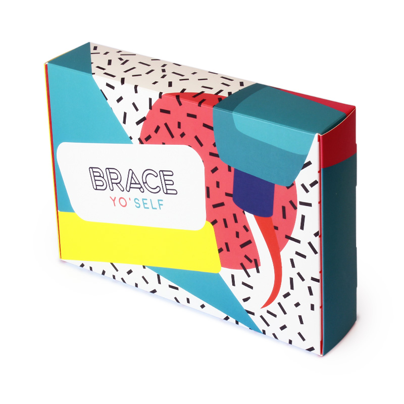 A colorful custom box made from premium paperboard.