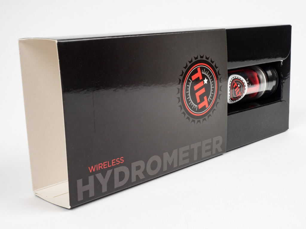 A side view for the finished custom folding carton product for the Tilt Hydrometer.