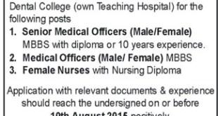 Women Medical And Dental College Abbottabad Jobs 2019 Advertisement