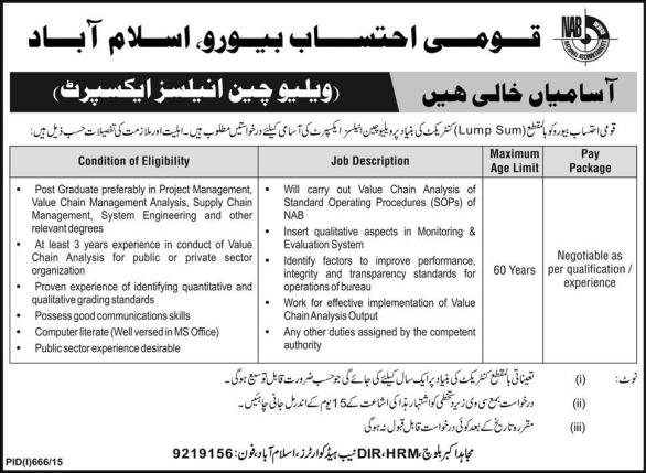 Jobs In NAB Islamabad 2019 Value Chain Analysis Expert Advertisement