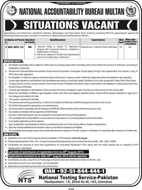 NAB Multan Jobs 2019 NTS DEO Advertisement Application Form Download