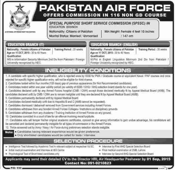 Pakistan Air Force Female Jobs 2018 PAF Female Jobs Registration Online