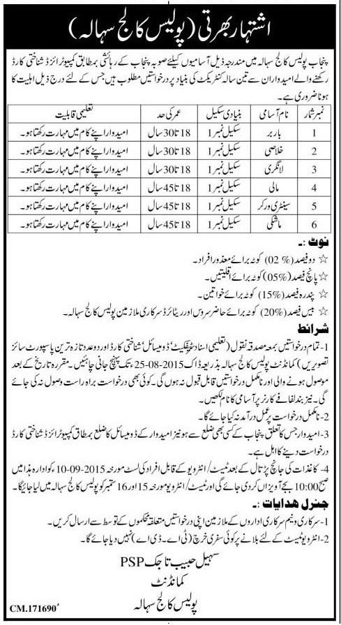 Punjab Police College Sihala Jobs 2019 Form Last Date Advertisement