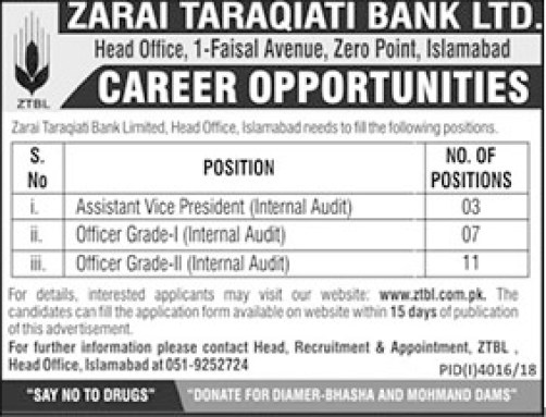 ZTBL Zarai Taraqiati Bank Limited Islamabad Jobs 2019 Application Form