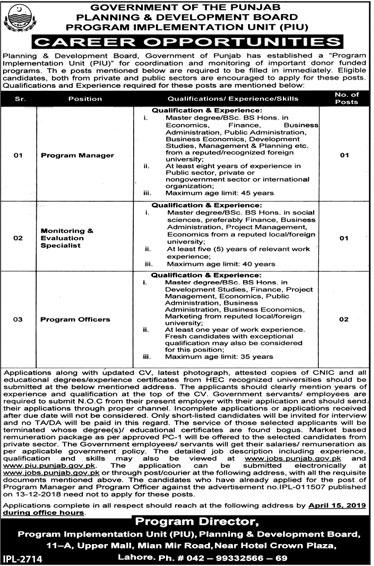 Punjab Planning And Development Department Jobs 2019 Advertisement