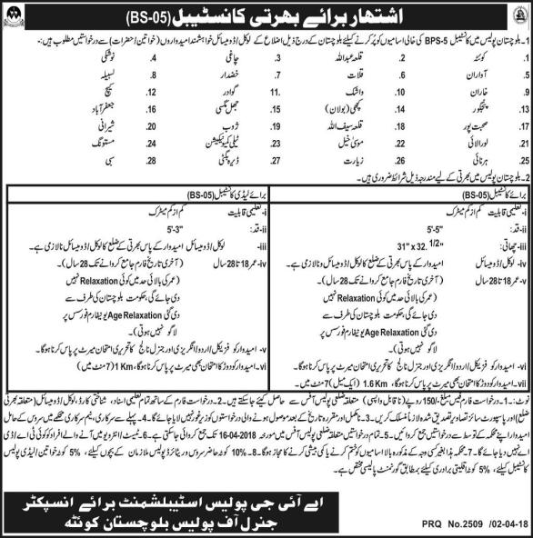 Balochistan Police Constable Jobs 2018 Application Form Advertisement Last Date