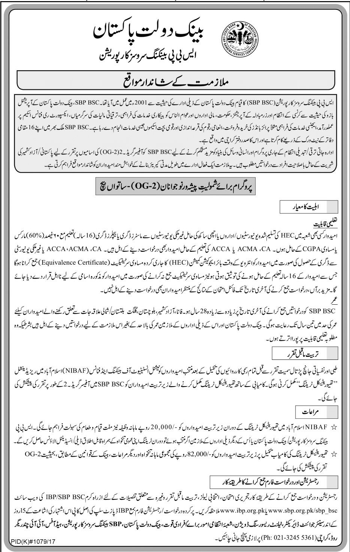 State Bank of Pakistan OG 2 Jobs 2019 SBP For Fresh