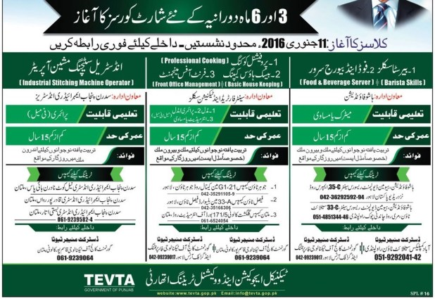 TEVTA Short Courses 2019 Admission Form in Lahore Multan 3, 6 Months For Matric Intermediate Middle