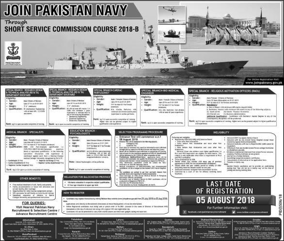 Pakistan Navy Short Service Commission Course 2018 B Registration Form Date