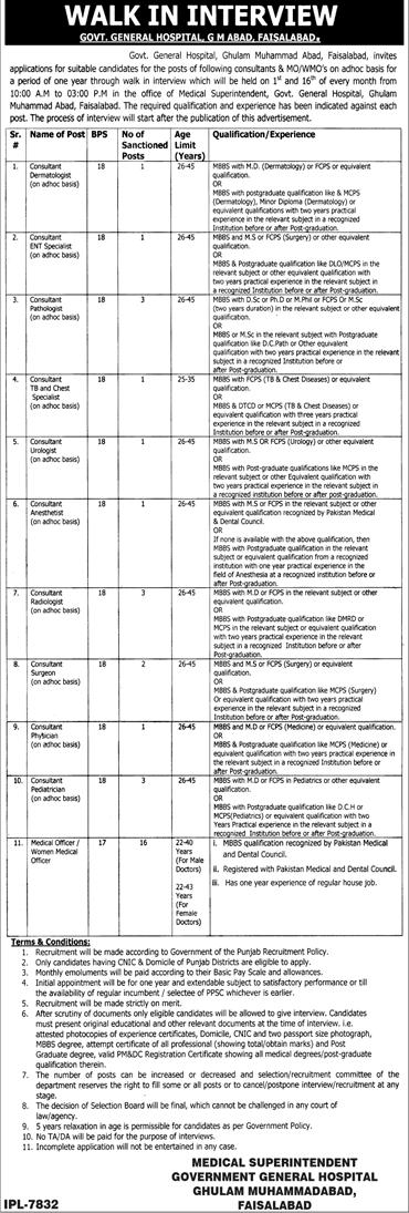 GOVT General Hospital Faisalabad Jobs 2018 Medical Officer Last Date Advertisement