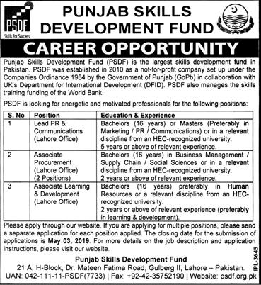 Punjab Skills Development Fund Jobs 2019 Application Form Advertisement