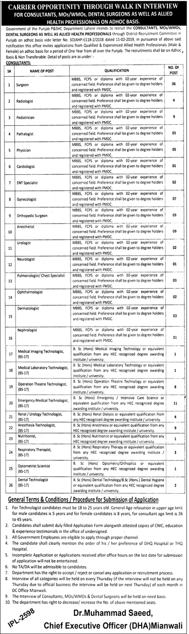 Primary And Secondary Healthcare Department Punjab Medical Jobs 2019