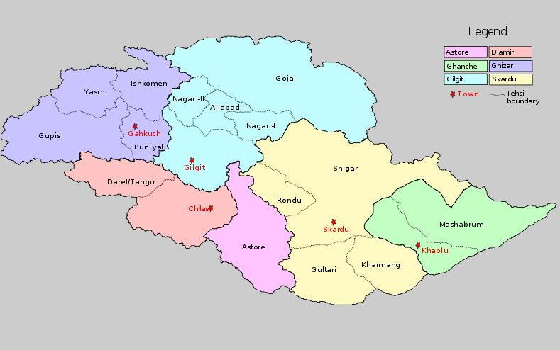 Astore District - a location map in Gilgit Baltistan