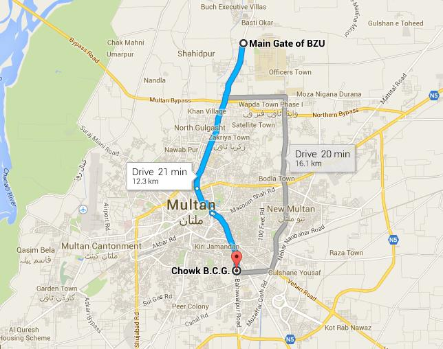 Multan Metro Bus Service Proposed Routes