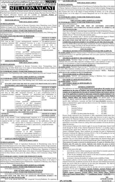 University of Agriculture Faisalabad UAF Jobs 2020 Online Form