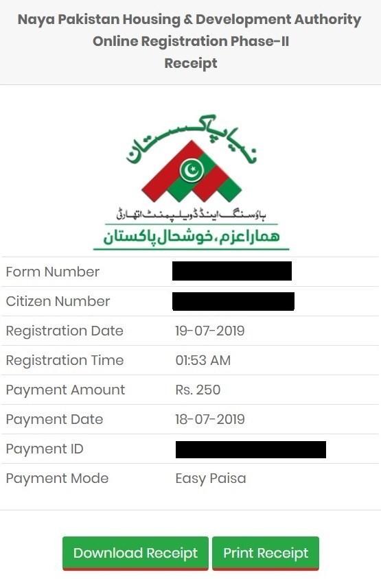 Naya Pakistan Housing Authority online registration phase II receipt