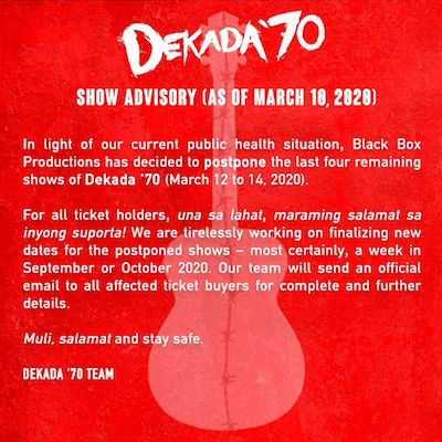 Dekad '70 canceled theater COVID-19