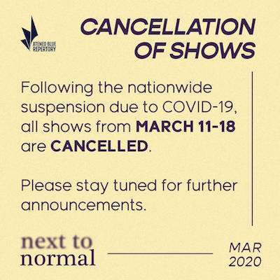 Next to Normal canceled shows due to COVID-19