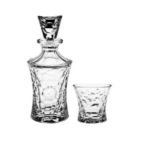 Set pahare cu sticla whisky din cristal Bohemia - MOLECULES