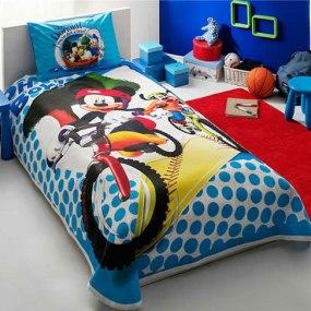 lenjerie de pat copii din bumbac disney tac mickey goofy
