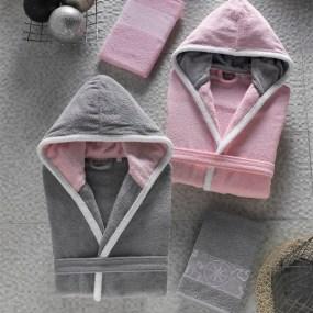 Set halate de baie si prosoape PASIFIC roz si gri