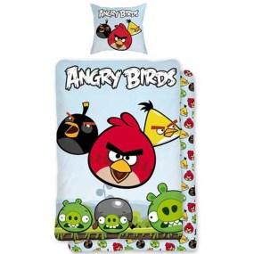 Lenjerie de pat copii bumbac ANGRY BIRDS-ALBASTRU DESCHIS