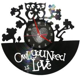 Ceasuri din discuri de vinil OWL WE NEED IS LOVE 1080X1080