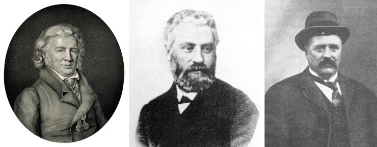 Figure 4 — Photographs of famous naturalists and scientists who have conducted research into thalattosuchians. Left: The German anatomist Samuel Thomas von Sömmerring (28 January 1755 – 2 March 1830). Source: Wikimedia Commons. Middle: The French naturalist Eugène Eudes-Deslongchamps (10 March 1830 – 21 December 1889). Source: Wikimedia Commons. Right: The German scientist Eberhard Fraas (26 June 1862 – 6 March 1915). Source: Wikimedia Commons.