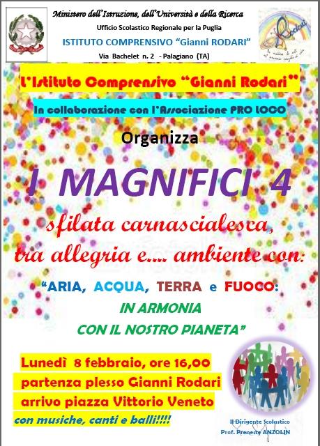 Carnevale a Palagiano: ARIA, ACQUA, TERRA e FUOCO, I magnifici 4.... elementi del nostro Pianeta