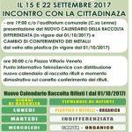 Si avvisano i cittadini del comune di Palagiano che del 1 Ottobre le raccolta differenziata con relativo calendario subirà delle modifiche.