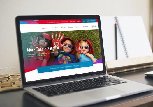 Leading Children's Hospital homepage on laptop