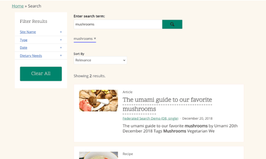 Search results page for mushrooms