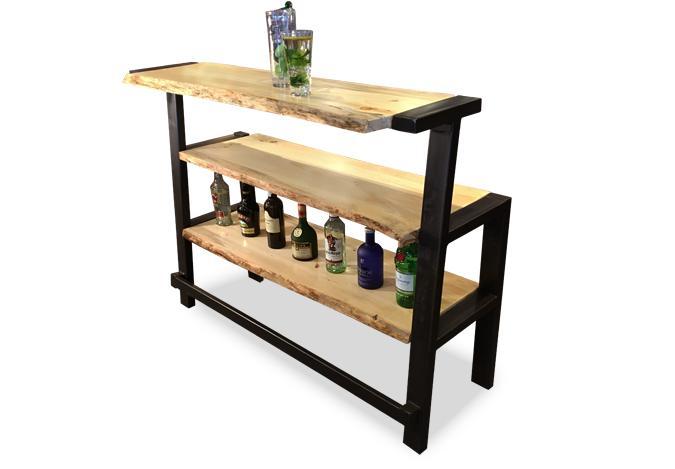 meuble de bar en bois vif et acier avec