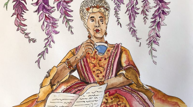 Illustration of Queen Charlotte as played by Golda Rosheuvel in Bridgerton, sipping tea while reading Lady Whistledown's newsletter