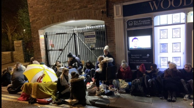 Over 30 students camped out J. W. Wood Estate Agents