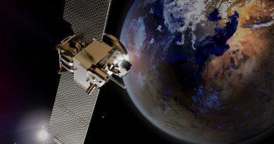 A single satellite in orbit around the Earth.