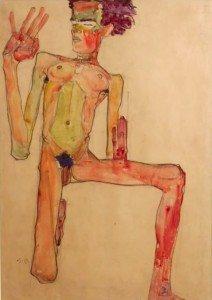 'Kneeling Nude With Raised Hands (Self Portrait)'