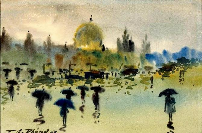 VT Station in Monsoon by PA Dhond, watercolour on paper, 1958, from the museum