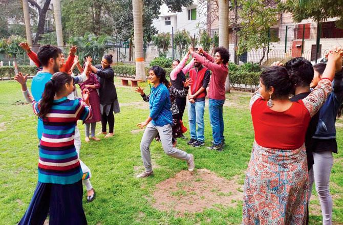 A pre-lockdown Drama Jam at a park in Nizamuddin West, New Delhi