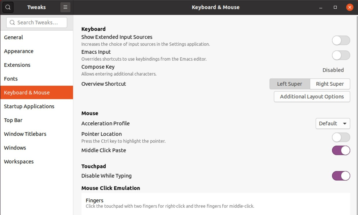 The keyboard and mouse options in GNOME Tweaks
