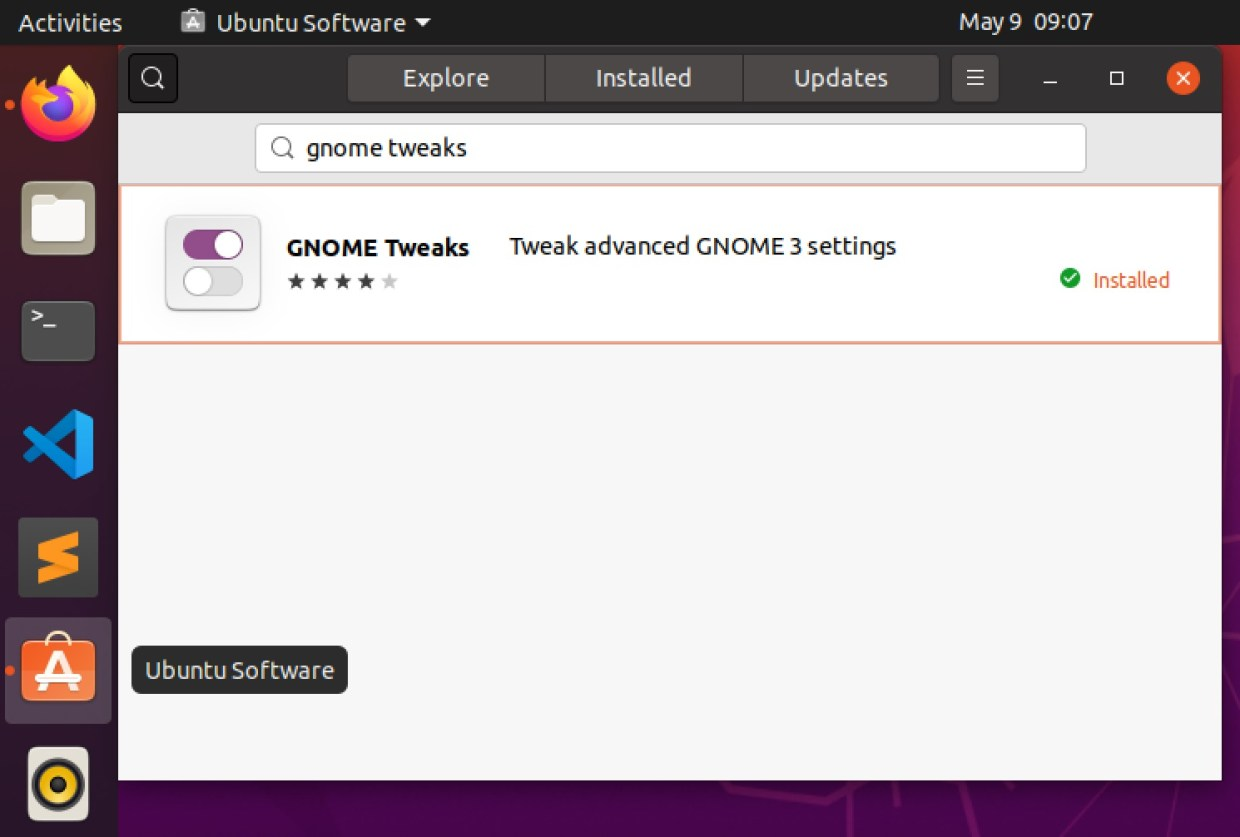 Search for GNOME Tweaks on Ubuntu Software