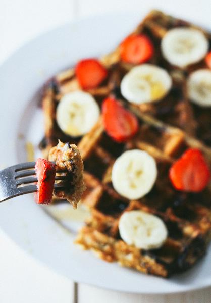 Paleo-ish Blueberry Oatmeal Waffles