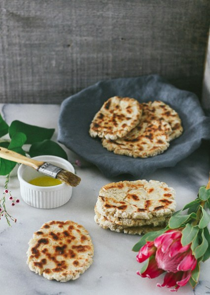 Fluffy, and tender Paleo-ish Naan that is easy-to-make, and dairy- and gluten-free!