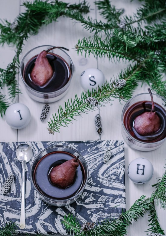 Panna Colada with Poached Pears and Red Wine Reduction | Paleo-ish