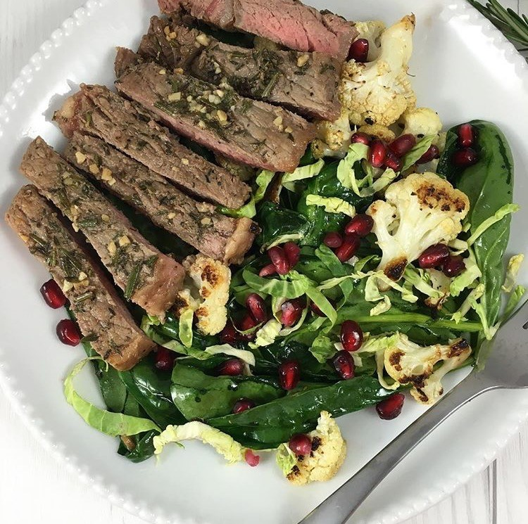 Herb crusted steak salad