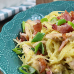 Chicken and Bacon Caesar Spaghetti Squash Pasta