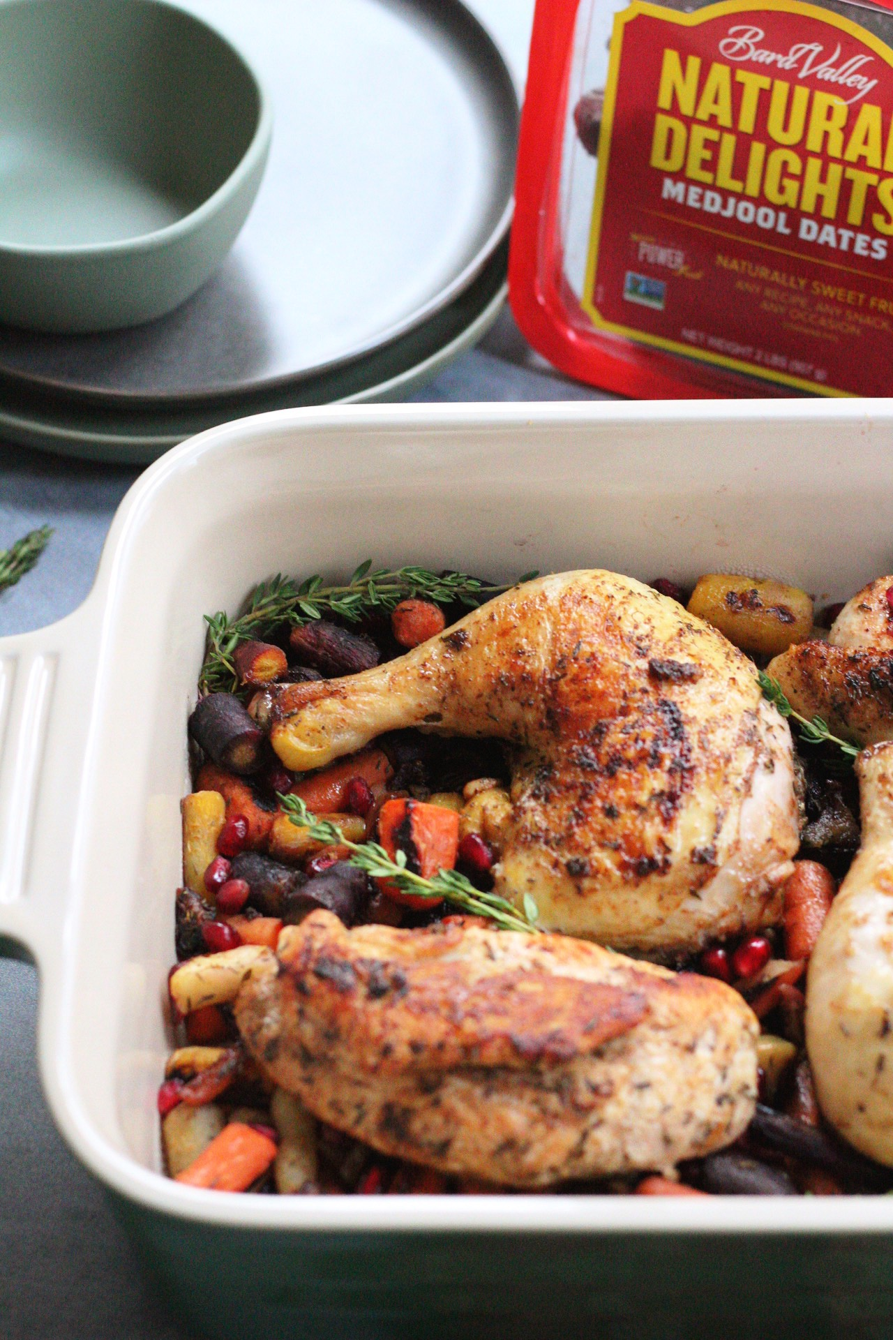 Roasted Chicken with a Medjool Date, Carrot and Apple Medley