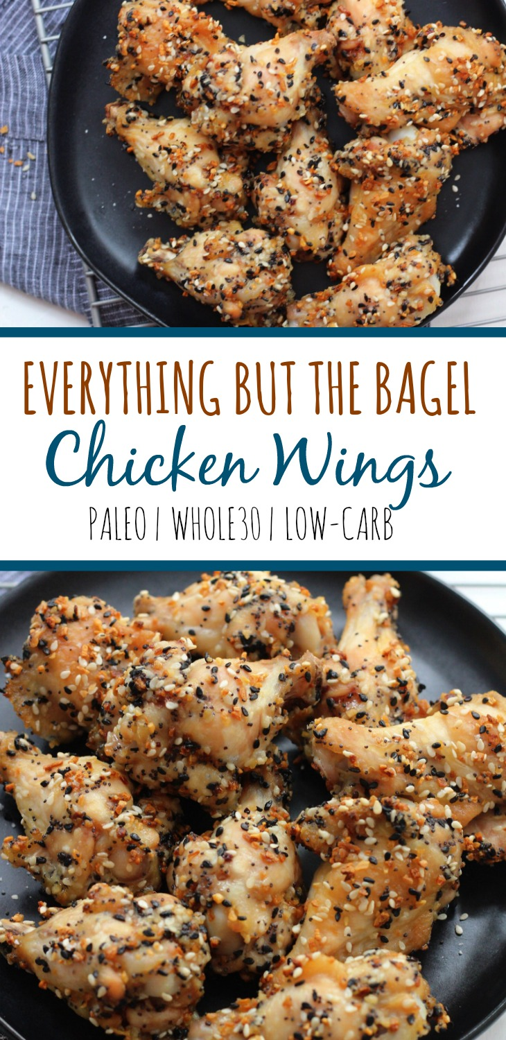 Everything but the bagel chicken wings are a family friendly recipe that's simple and delicious. It's Paleo, Whole30 and this low carb chicken wing recipe is baked and not fried. The perfect paleo appetizer, snack or Whole30 game day recipe! #paleochickenwing #whole30chickenrecipes #chickenwings via @paleobailey