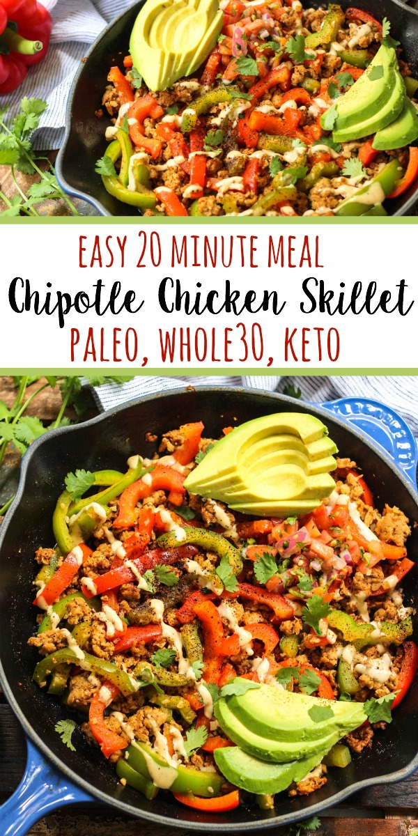 This Whole30 chipotle chicken skillet checks all of my boxes. Paleo, low carb, gluten free, you name it. In under 20 minutes you've got a family friendly chicken dinner on the table or ready to be put in the fridge for meal prep. It's easy to make this Whole30 chicken recipe your own by swapping the veggies! #whole30skillet #whole30chickenrecipe #paleochickenrecipe #paleoskillet