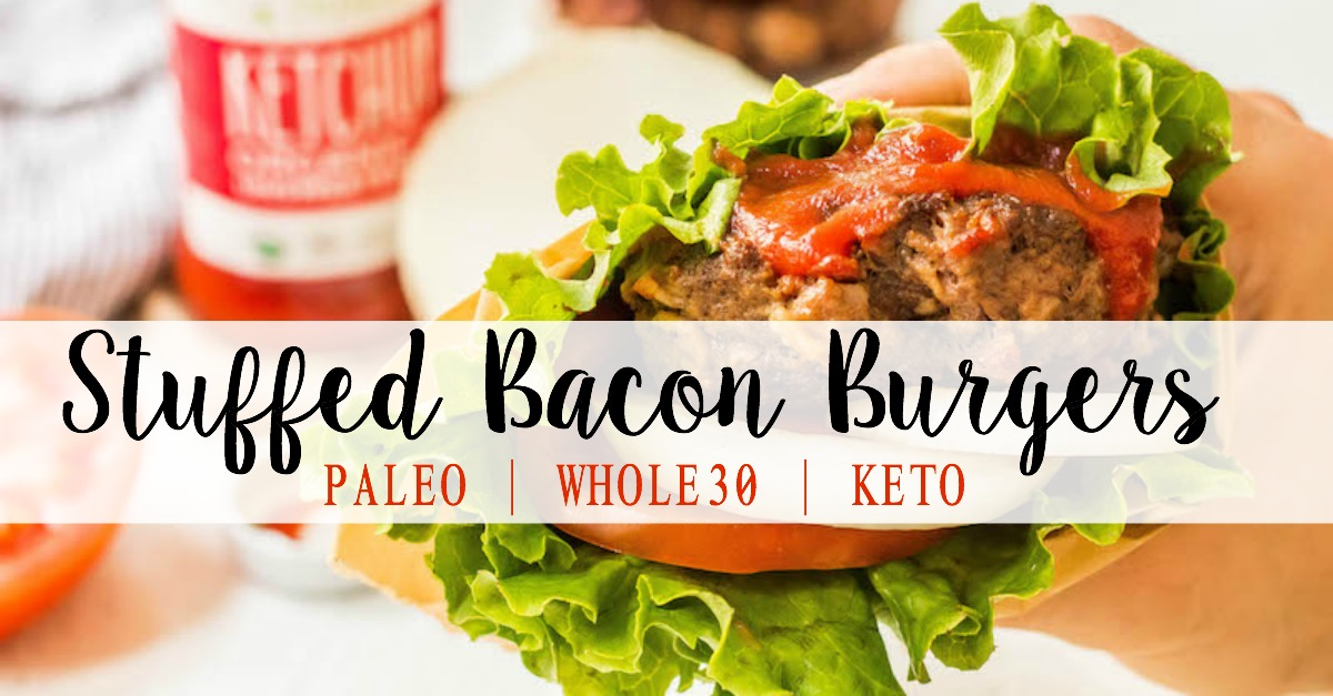 These stuffed Whole30 bacon burgers are going to be the star of your next outdoor get-together. They're easy to make on the grill or on the stovetop, and perfectly customizable for all of your party guests! These juicy burgers are full of flavor, topped with the best condiments, and great for dinner no matter if you're eating keto, Paleo or Whole30! #whole30burgers #ketoburgers #paleoburgers #whole30beefrecipes #ketobeefrecipes
